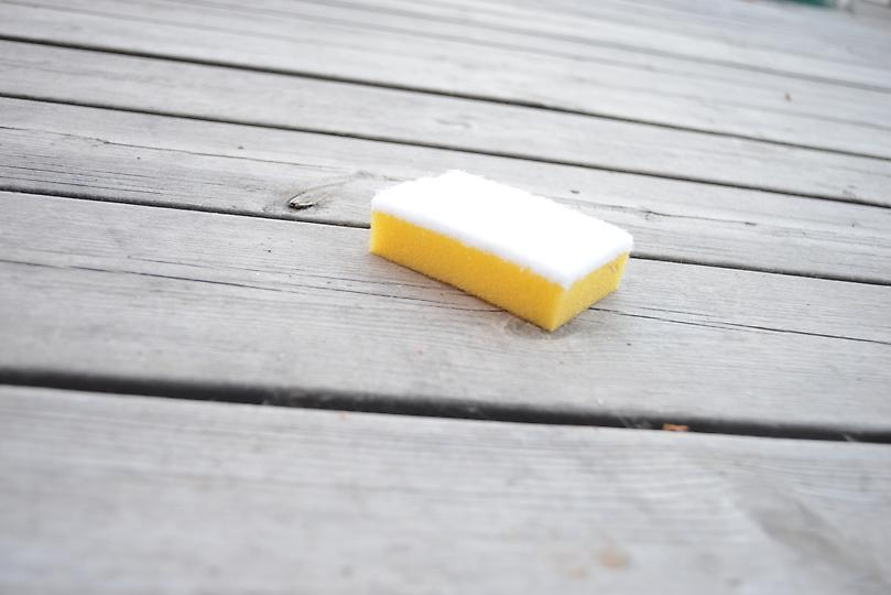Picture on a bath sponge drowned in cleaners for decking and façades.